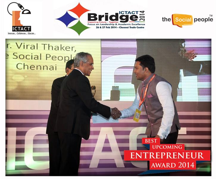 Viral Thaker awarded the 2014 Best Upcoming Entrepreneur Award
